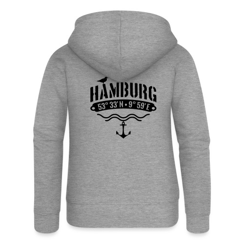 Hamburg Koordinaten Anker Möwe Längengrad - Frauen Premium Kapuzenjacke