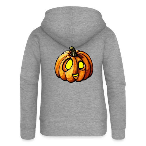 Pumpkin Halloween watercolor scribblesirii - Women's Premium Hooded Jacket