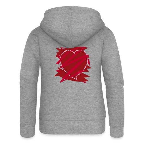 corazón enamorado, corazón roto - Chaqueta con capucha premium mujer