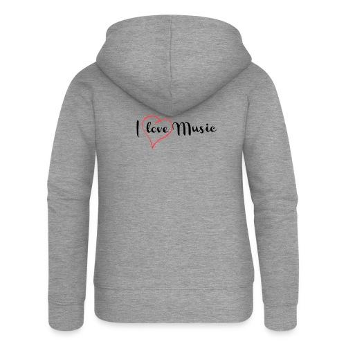 I Love Music - Felpa con zip premium da donna