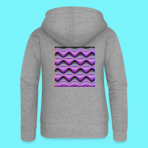 Sine waves in red and blue - Women's Premium Hooded Jacket