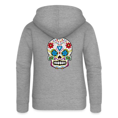 skull5 - Felpa con zip premium da donna