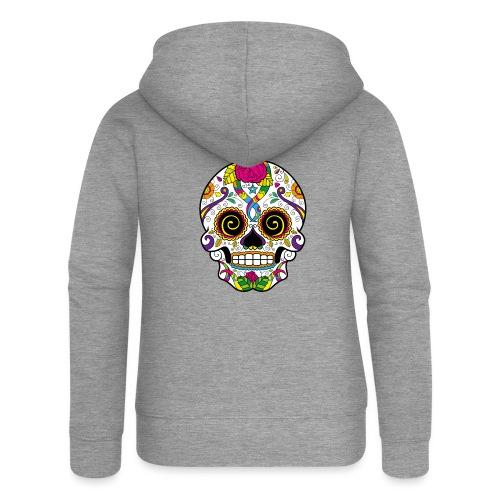 skull3 - Felpa con zip premium da donna