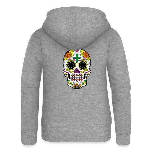 skull4 - Felpa con zip premium da donna