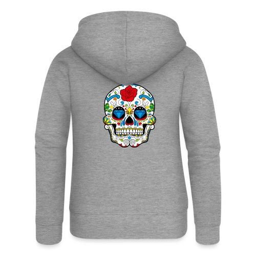 skull2 - Felpa con zip premium da donna