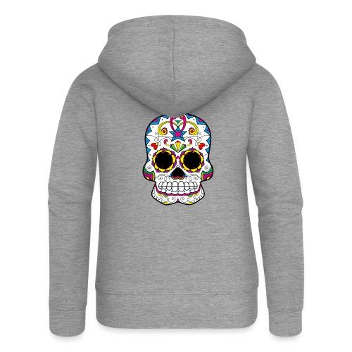 skull7 - Felpa con zip premium da donna