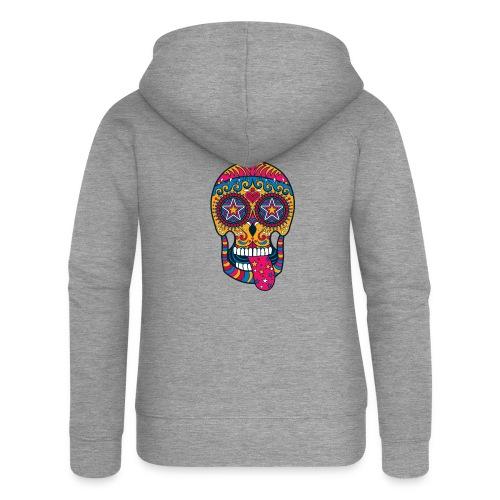 Mexican Skull - Felpa con zip premium da donna