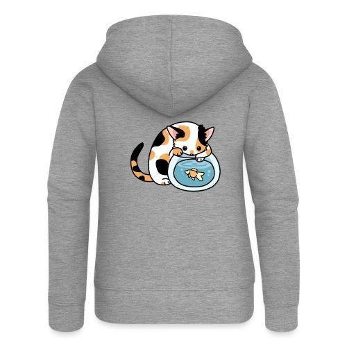 Katze mit Fisch im Glas - Frauen Premium Kapuzenjacke
