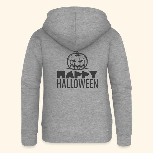 happy halloween pumpkin logo - Chaqueta con capucha premium mujer