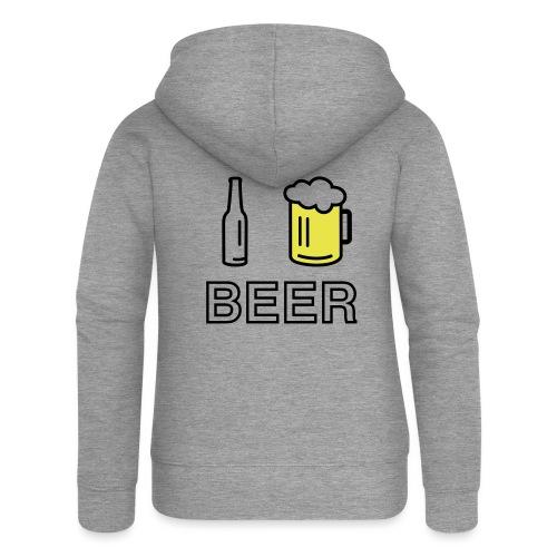 I Love Beer (2-farbig) - Frauen Premium Kapuzenjacke