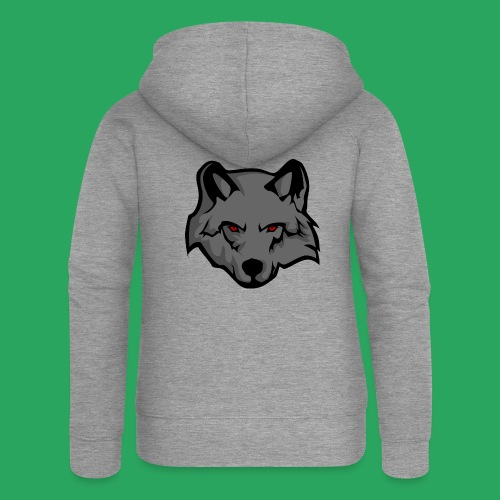 wolf logo - Felpa con zip premium da donna