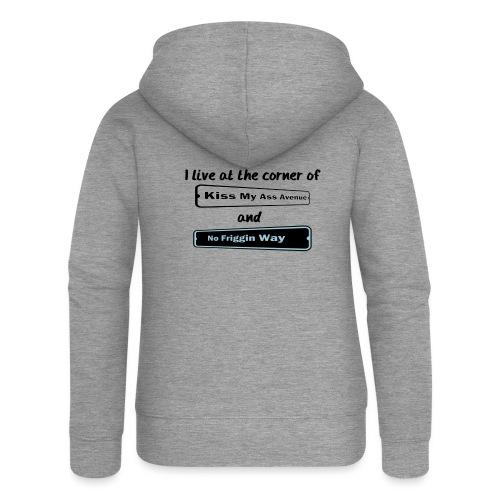 I_LIVE_AT_THE_CORNER_CUT_-2- - Women's Premium Hooded Jacket