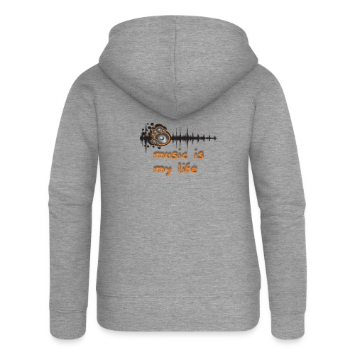 Music is my Life - Felpa con zip premium da donna
