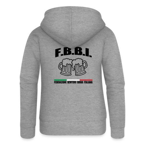 FBBI LOGO NERO - Felpa con zip premium da donna