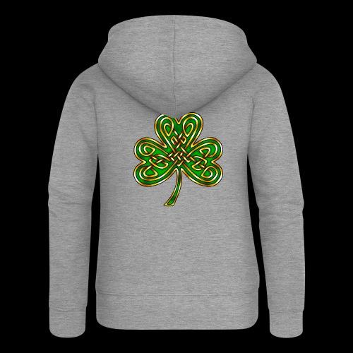 Celtic Knotwork Shamrock - Women's Premium Hooded Jacket