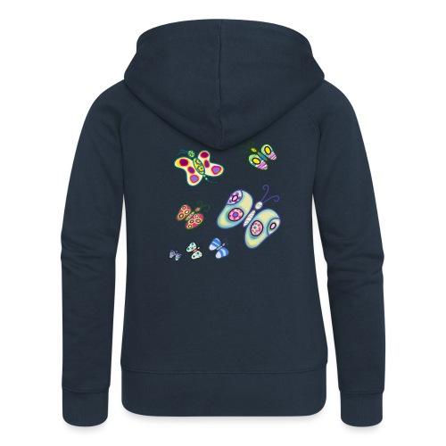 Allegria di farfalle - Felpa con zip premium da donna