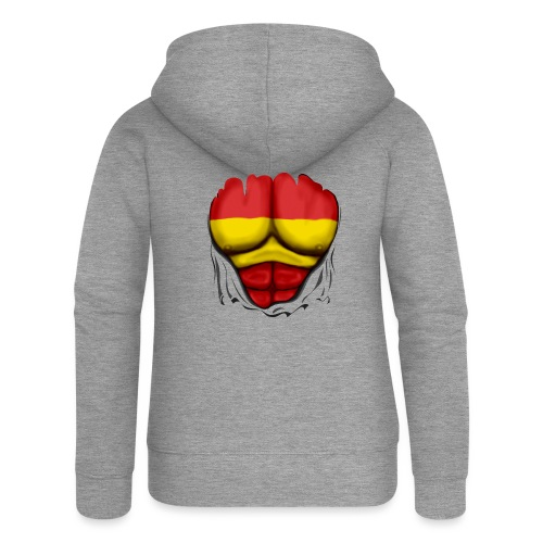 España Flag Ripped Muscles six pack chest t-shirt - Women's Premium Hooded Jacket