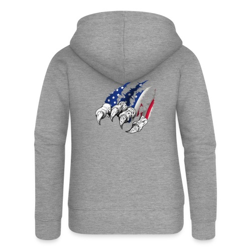 American Flag Claw - Women's Premium Hooded Jacket
