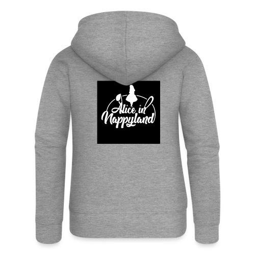 Alice in Nappyland TypographyWhite 1080 - Women's Premium Hooded Jacket