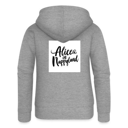Alice in Nappyland Typography Black 1080 1 - Women's Premium Hooded Jacket