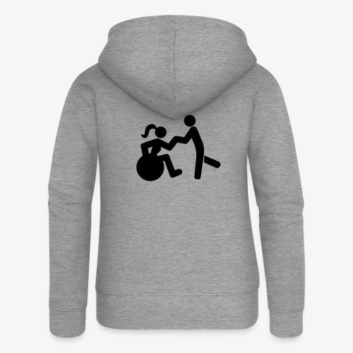 Afbeelding van vrouw in rolstoel die danst met man - Vrouwenjack met capuchon Premium