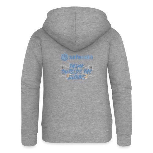 SafeCoin; think outside the blocks (blue) - Women's Premium Hooded Jacket
