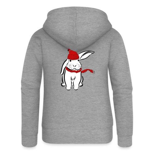 Kaninchen Hase Mütze Schal Schlappohr Schneehase - Frauen Premium Kapuzenjacke