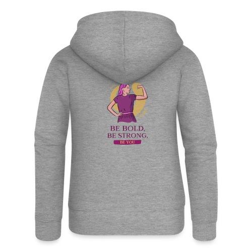 t shirt design generator featuring an empowered - Chaqueta con capucha premium mujer