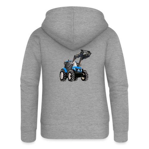 Blauer Traktor mit Frontlader - Frauen Premium Kapuzenjacke