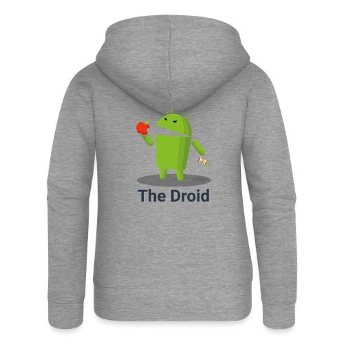 The Droid eats apple - Felpa con zip premium da donna