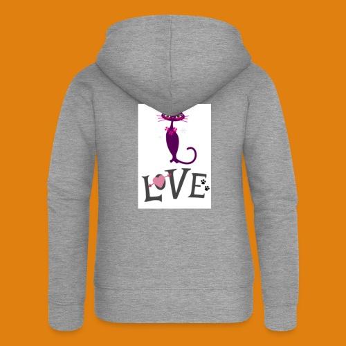 t-shirt cat love - Women's Premium Hooded Jacket