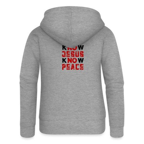 Know Jesus Know Peace (Flower Design) - Frauen Premium Kapuzenjacke