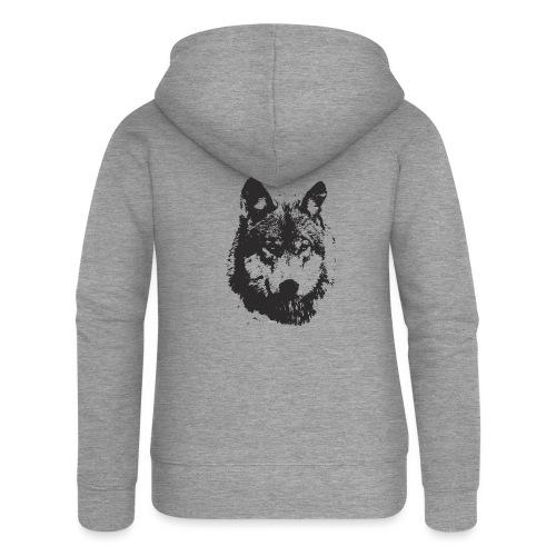 illustration te e te de loup noire - Veste à capuche Premium Femme