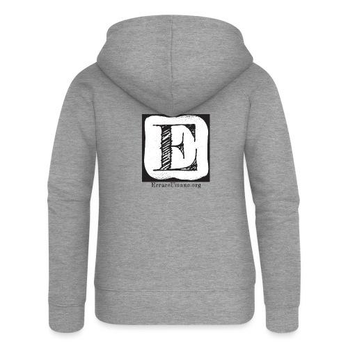 Logo ErrareUmano (scritta nera) - Felpa con zip premium da donna