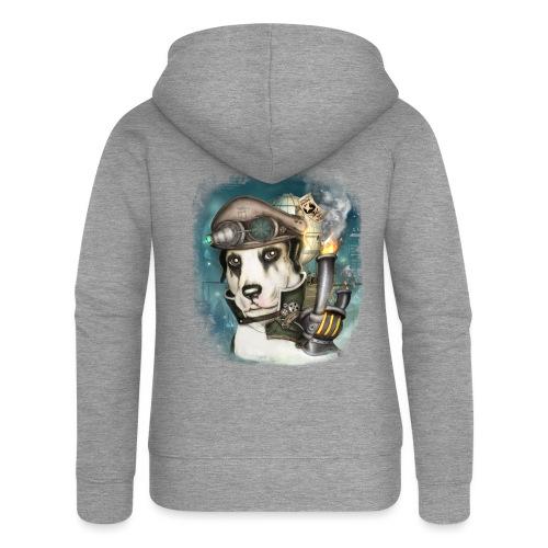 Steampunk Dog #2b - Felpa con zip premium da donna