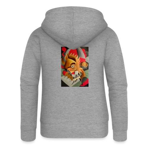 leone - Felpa con zip premium da donna