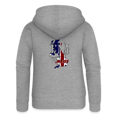 I am English - Felpa con zip premium da donna