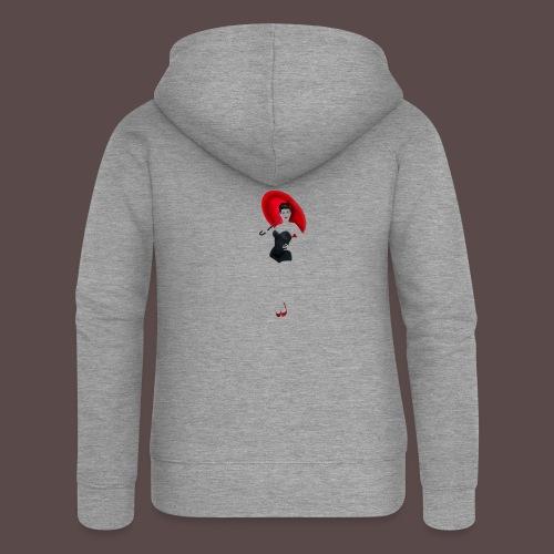 Pin up - Red Umbrella - Felpa con zip premium da donna