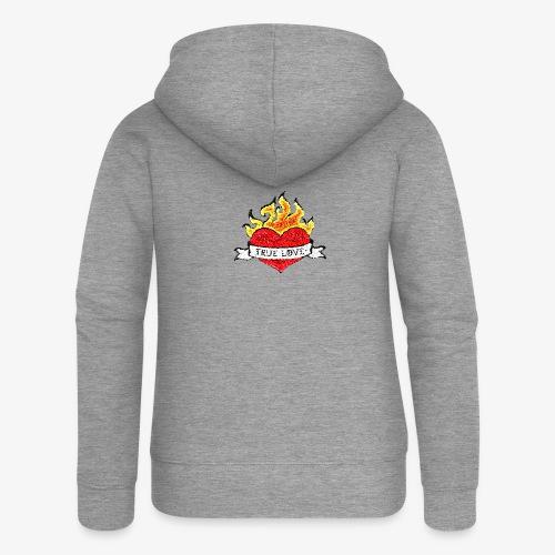 Płonące serce - Rozpinana bluza damska z kapturem Premium