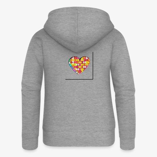 Serce Puzzle - Rozpinana bluza damska z kapturem Premium