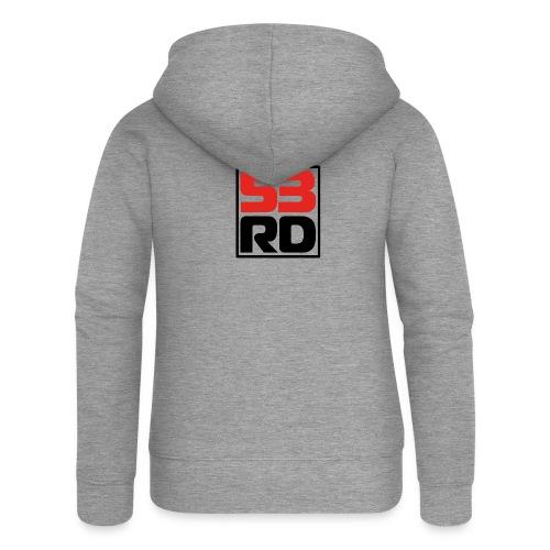 53RD Logo kompakt umrandet (schwarz-rot) - Frauen Premium Kapuzenjacke