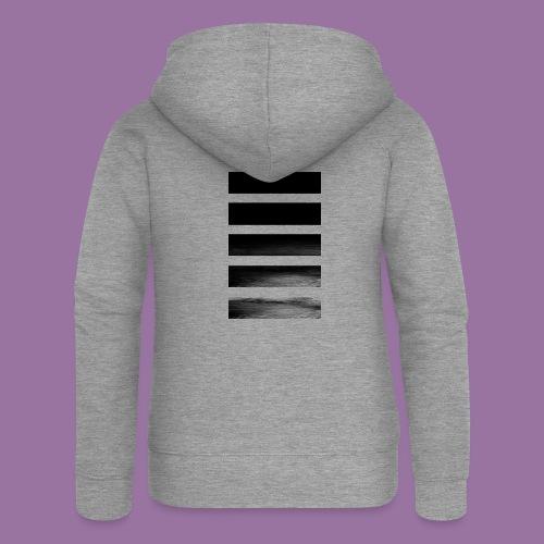 Stripes Horizontal Black - Felpa con zip premium da donna