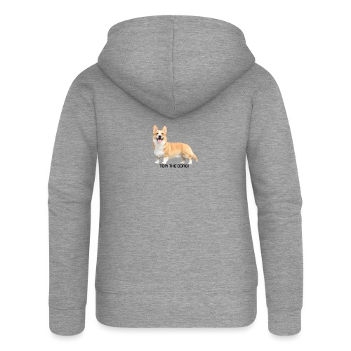 Topi the Corgi - Black text - Women's Premium Hooded Jacket
