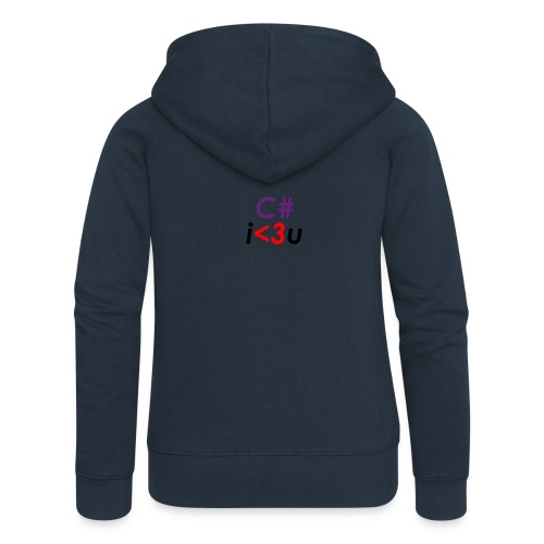 C# is love - Felpa con zip premium da donna