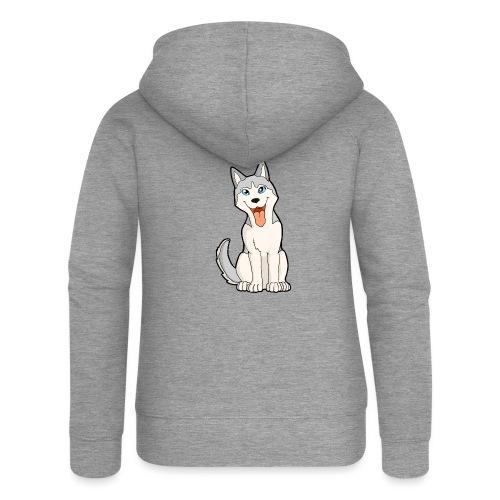Husky grigio occhi azzurri - Felpa con zip premium da donna