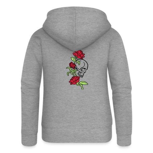 teschio e rose es123_2 - Felpa con zip premium da donna