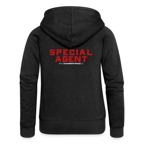 Emblemat Special Agent marki Akademia Wywiadu™ - Rozpinana bluza damska z kapturem Premium