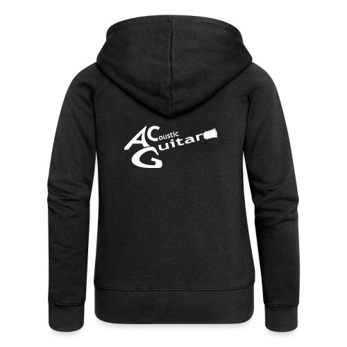 Acoustic Guitar Logo - White - Women's Premium Hooded Jacket