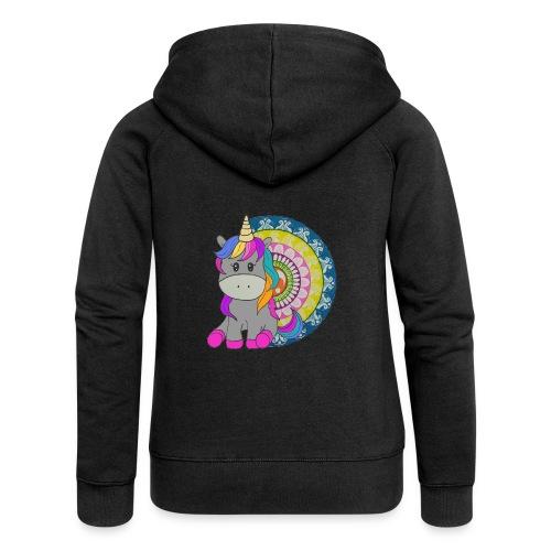 Unicorno Mandala - Felpa con zip premium da donna