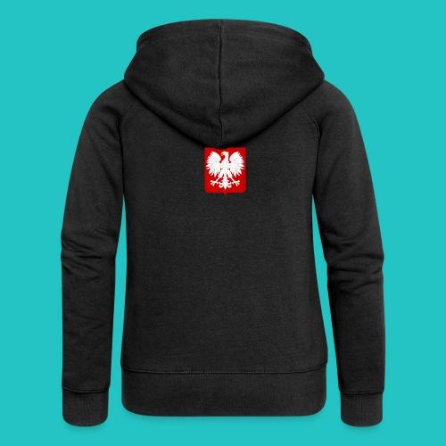 Koszulka z godłem Polski - Rozpinana bluza damska z kapturem Premium